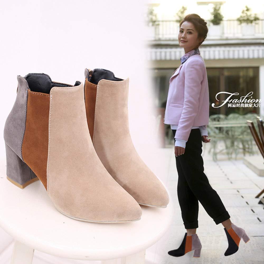 Fuxitoggo Europäische und amerikanische Stiefel Kinder Mode Kurze Stiefel mit mit mit 7 cm, Herbst Martin Stiefel Damen Stiefel Damen High Heels (Farbe   Beige, Größe   EU 40) aa24a5