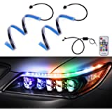MICTUNING 2 Pcs 18.5 inch RGB Flexible Car LED Light Strip, Multi Color Daytime Running Light Sequential Turn Signal…