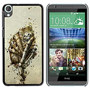TopCaseStore / la caja del caucho duro de la cubierta de protección de la piel - Skeleton Hand Of Cards - HTC Desire 820