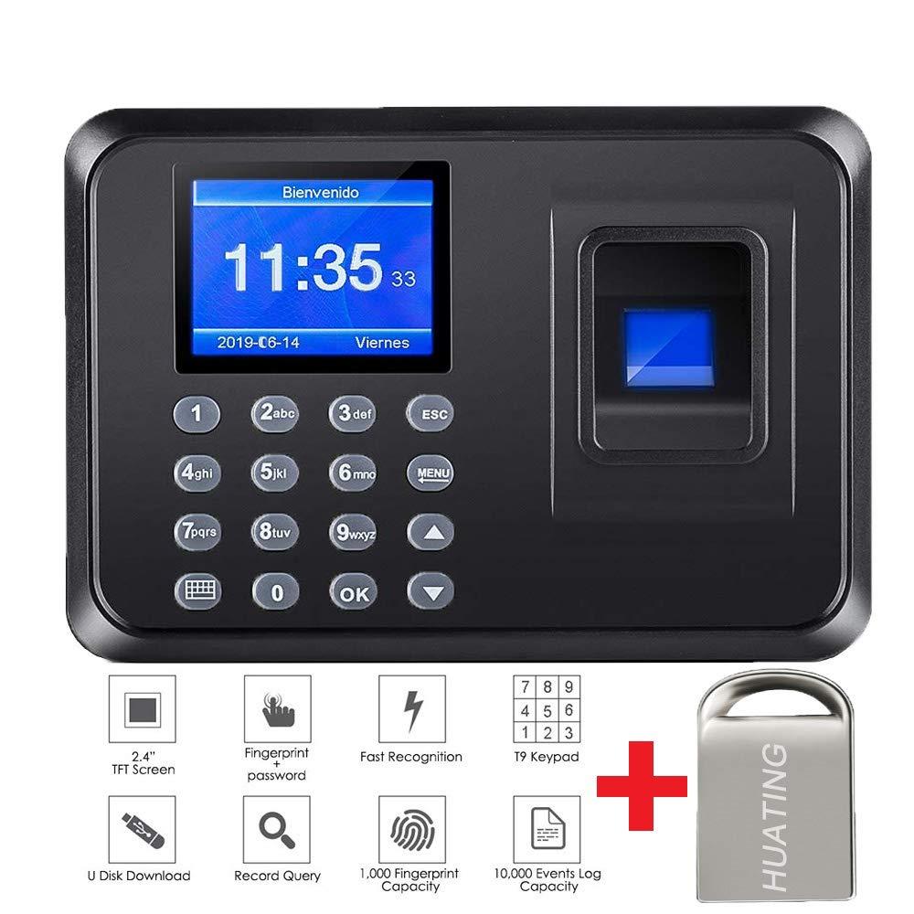 Maquina Asistencia de Fichar Huella Dactilar,Máquina de Asistencia,100.000 Registros, Sistema Española, Biometrico Huella,2.4 Pulgadas,con 8G Disco U