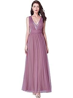 7ee96a27421 Ever-Pretty Robe de Soirée Bal Femme Longue Col V avec Paillettes 07455