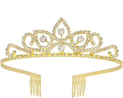 Mini Crown Tiara Hair Combs Clear Rhinestones Crystal Bridal Pageant Party FAST
