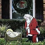 Teak Isle Kneeling Santa Outdoor Nativity Set | Weatherproof Santa Nativity Scene for Yards
