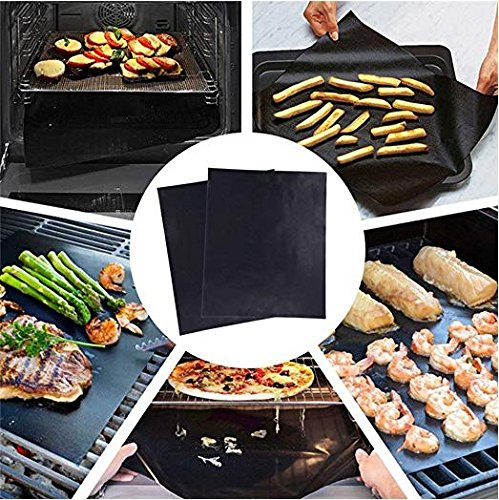 Grill Mat - set of 5,Non Stick,Reusable Barbecue Mat Heavy Duty Easy to Clean, FDA SGS Approved Grilling Mats for Natural Gas, Charcoal, Propane, Electric BBQ Grills Fire Pits, Oven or Smoker