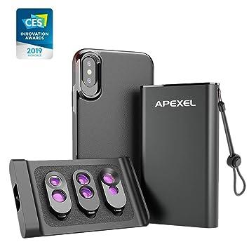 Apexel Kit de Lentes de teléfono 3 en 1 Estuche magnético Trasero para iPhone X/X (Solamente) + Lente Externa Adicional, Lente Macro Dual + Telefoto y ...