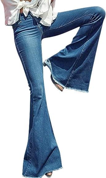 5c87a810 Orangeskycn Flare Jeans,Women's Juniors Bell Bottom High Waist Fitted Denim  Jeans Light Blue