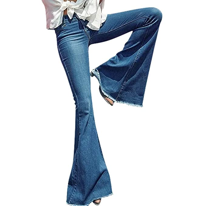 Weiyun Women Pants Women Daily Hight Waisted Wide Leg Denim ...