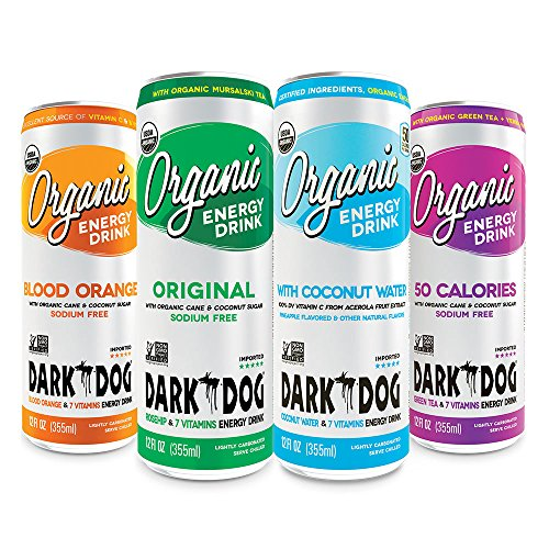 DARK DOG ORGANIC Energy Drink Variety Pack, Delicious-taste, full of vitamins, made of super fruits, sports drink, 12 Fl Oz (Pack of 12)