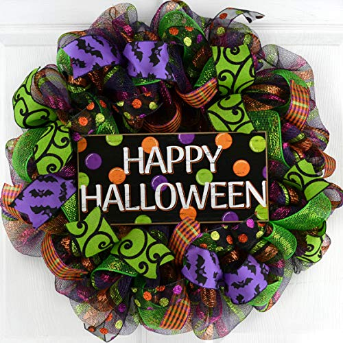 Happy Halloween Door Wreaths | Mesh Outdoor Front Door Wreath; Black Orange Purple Lime -