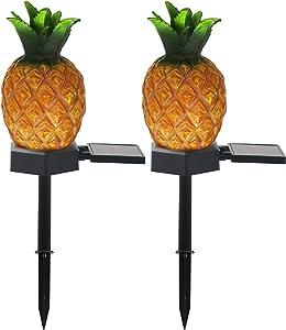 VGYVGYCC Garden Decor Solar Stake Lights - 2 Pack Outdoor Pineapple Waterproof Lights Pathway Yard Lawn Walkway Decoration