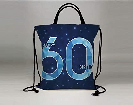 3D Print Drawstring Bag String Backpack60th Birthday DecorationsSpace Theme Stage With Star