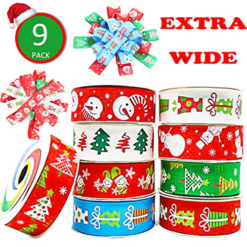 Christmas Ribbon; 27 Yards 1'' Grosgrain Satin Fabric Xmas Ribbons for Crafts Decoration Holiday Box Gift Wrapping, Hair Bow Clips, Sewing, Wedding, Baby Shower (9 Patterns x 3Yds Packed in Roll)