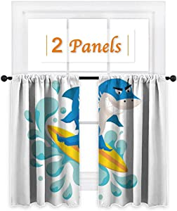 "Funny Shower Curtains Shark for Living Room Surf 55"" Wide x 45"" Long Youth"