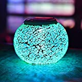 Solar Table Lights, SUNVIE Color Changing Solar Powered Glass Ball Led Lights, Outdoor/Indoor Waterproof Solar Night Lights Table Lamps for Patio Garden Christmas Decorative Lighting (Silver)