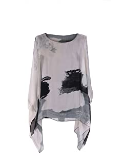 6b1fd57dd52 Ladies Italian Tie &Dye Silk Tunic Top Women Batwing Lagenlook Top Plus Size