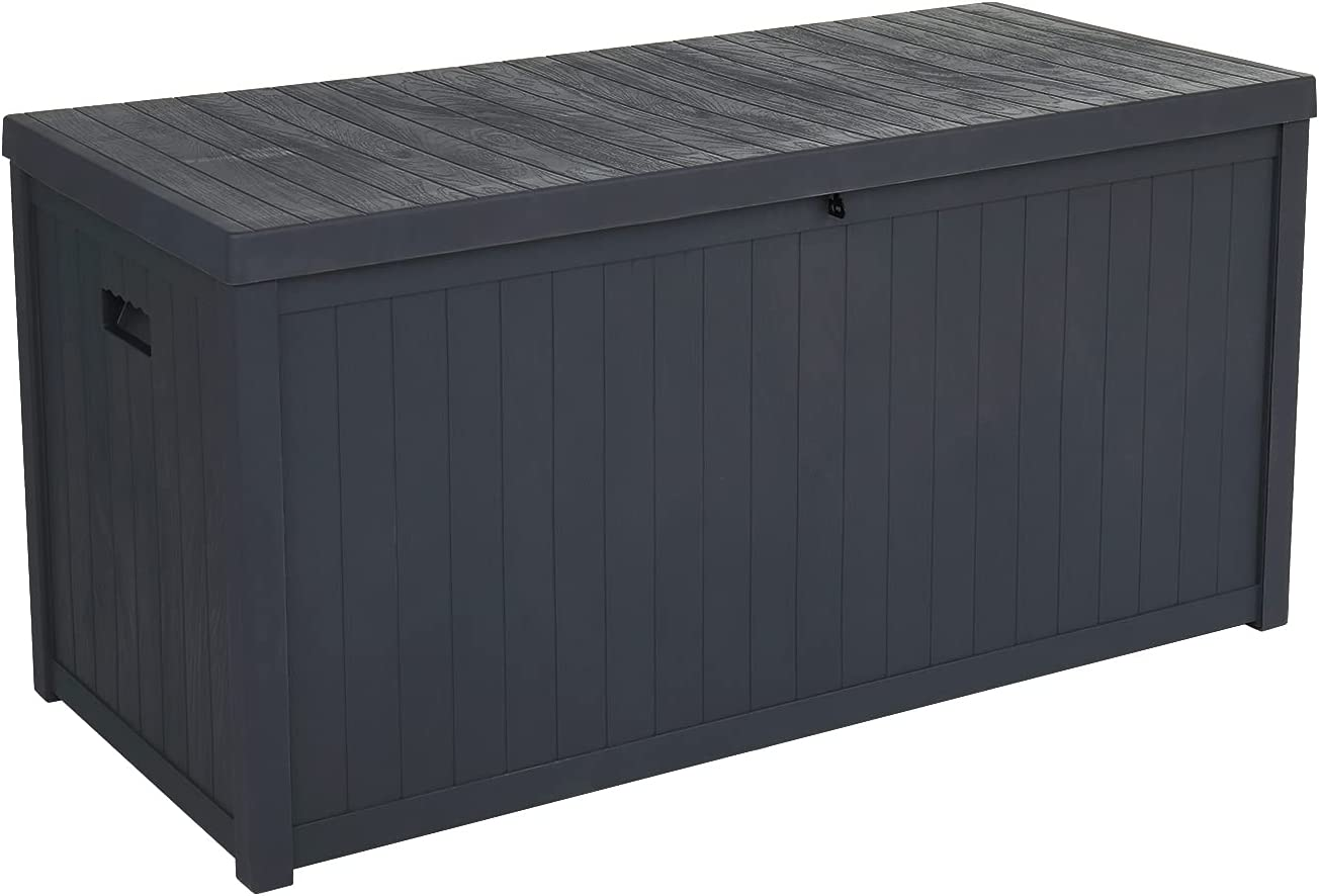 Outdoor Garden Plastic Storage Deck Box Chest Tools Cushions Toys Lockable Seat Waterproof 113gal Resin Deck Box-Organization and Storage for Patio Furniture Outdoor For Home Garden