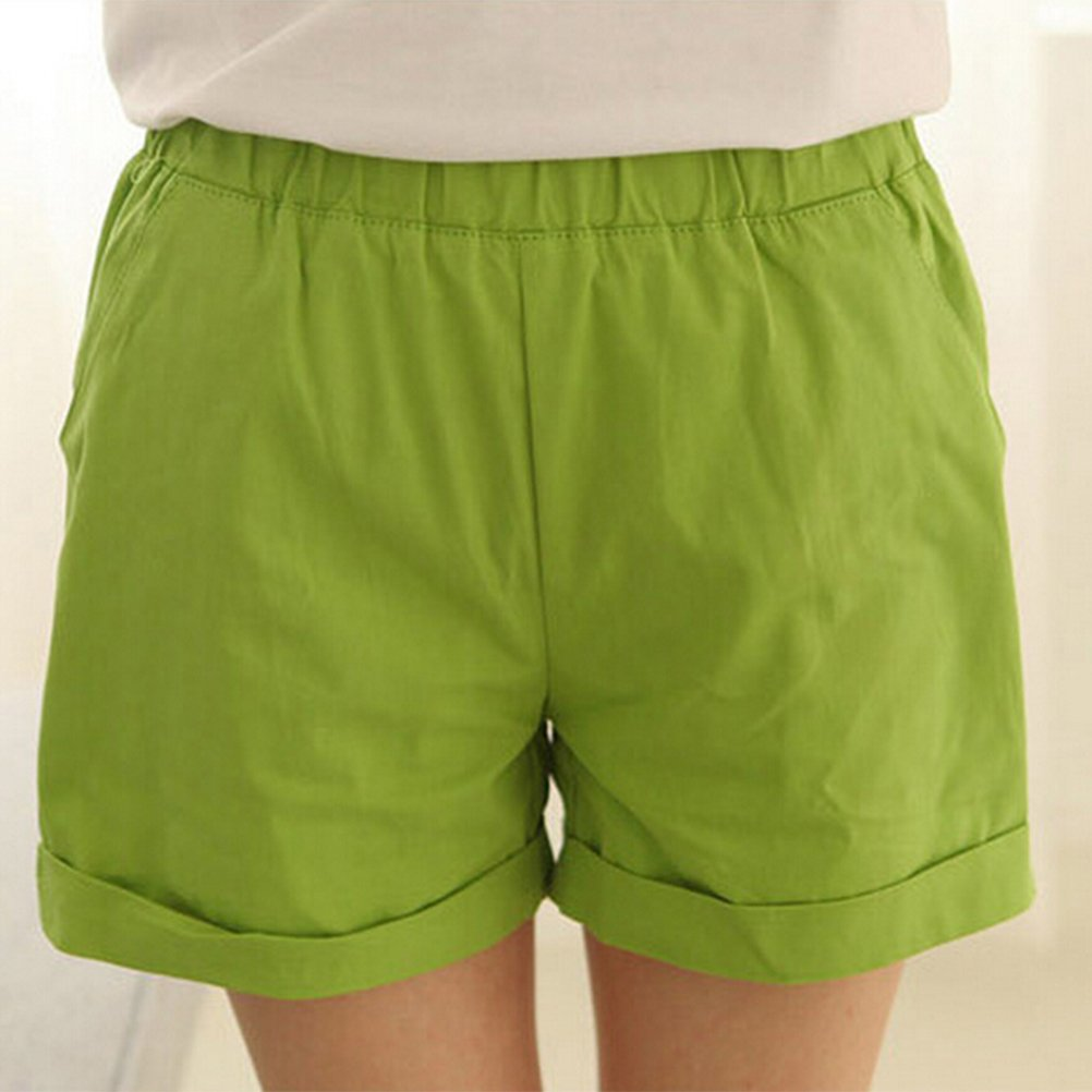 Tinksky Damen Shorts   Baumwoll Shorts Damen Süßigkeit-Farben-Sommer-kurze  Hosen-Größe M (Apple-Grün)  Amazon.de  Bekleidung d8f6e15497