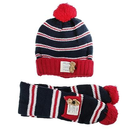 93aef0e2e612a Kids Knitted Scarf Set Soft Knit Pom Cartoon Bear Striped Crochet Ski Beanie  Hats Caps Scarves
