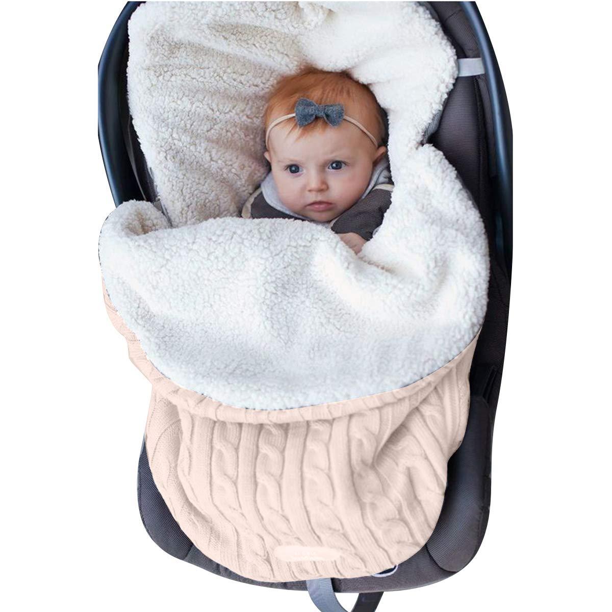 Manta para bebé con forro polar para cochecito de bebé + terciopelo beige beige Talla:24.7x 15.95