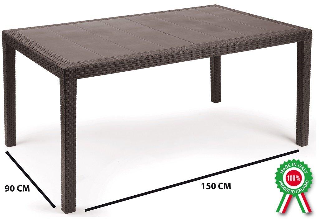 Tavolo tavolino rettangolare prince in resina finto rattan vimini marrone scuro Savino Fiorenzo