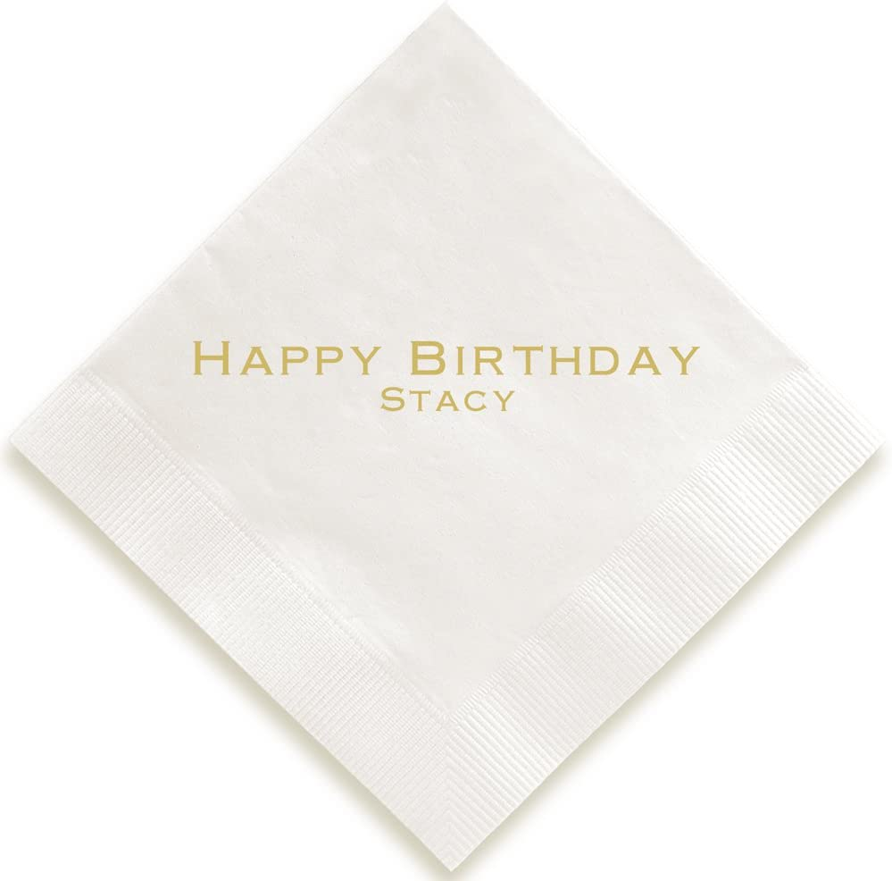 Personalized Expression Napkin - Foil-Pressed (White)