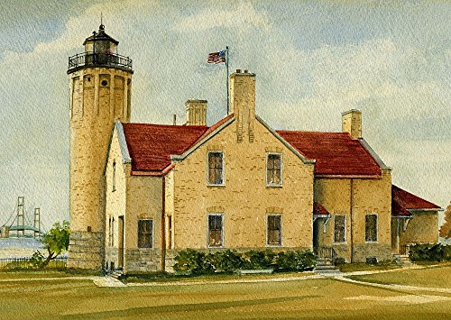 Old Mackinac Point Lighthouse & Straits of Mackinac Bridge, Mackinaw City, Michigan. Matted Watercolor Art Prints (5x7) (Michigan City Lighthouse)