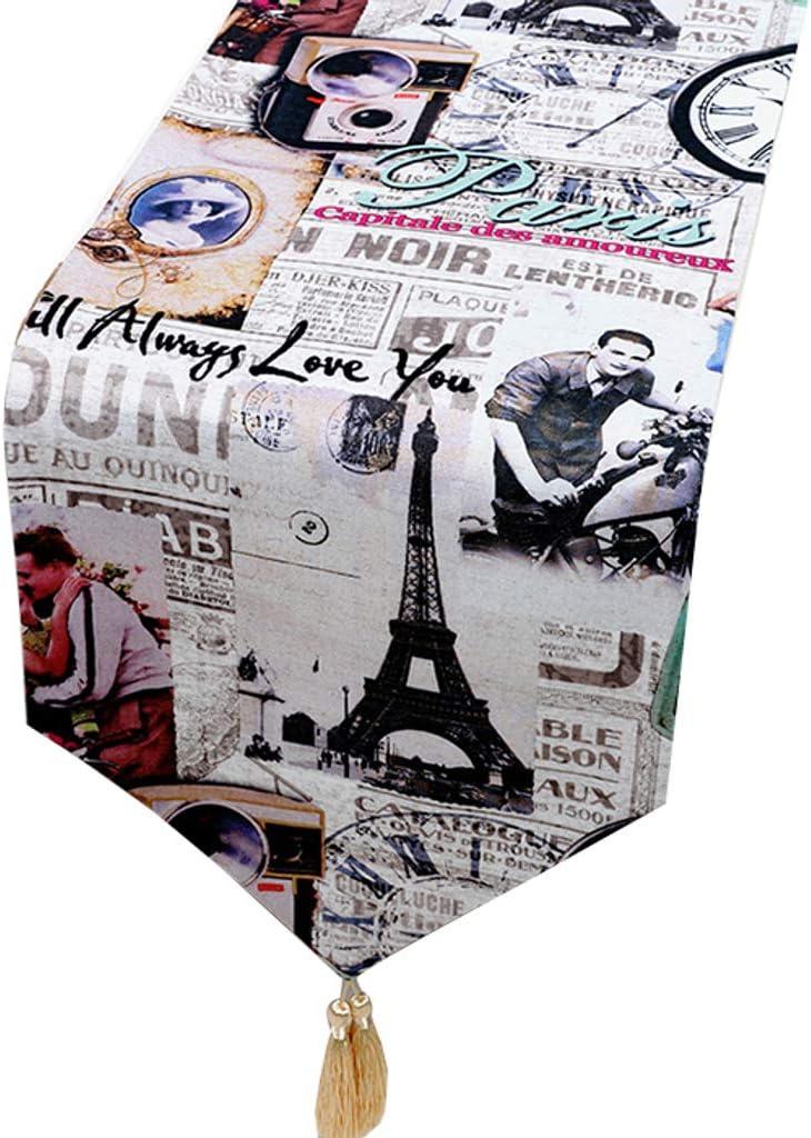 Giornale Britannico Stile Americano Nazione Cenare Tavolo caff/è Tavolo Giardino-A-33 150cm JLWM Retro Runner da Tavola Tavolo Corridore Tabella