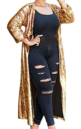 b4dee81dd1a RDHOPE-Women Plus-Size Satin Sequin Long Maxi Cardigan Trench Coat Golden S