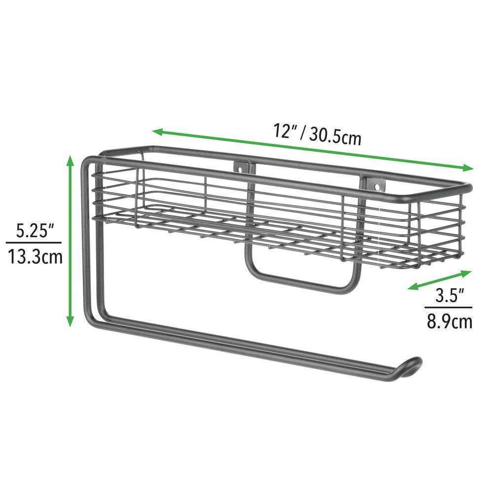 hochwertiger Papierrollenhalter mit integriertem Gew/ürzregal aus Metall praktischer K/üchenhelfer bronzefarben mDesign K/üchenrollenhalter