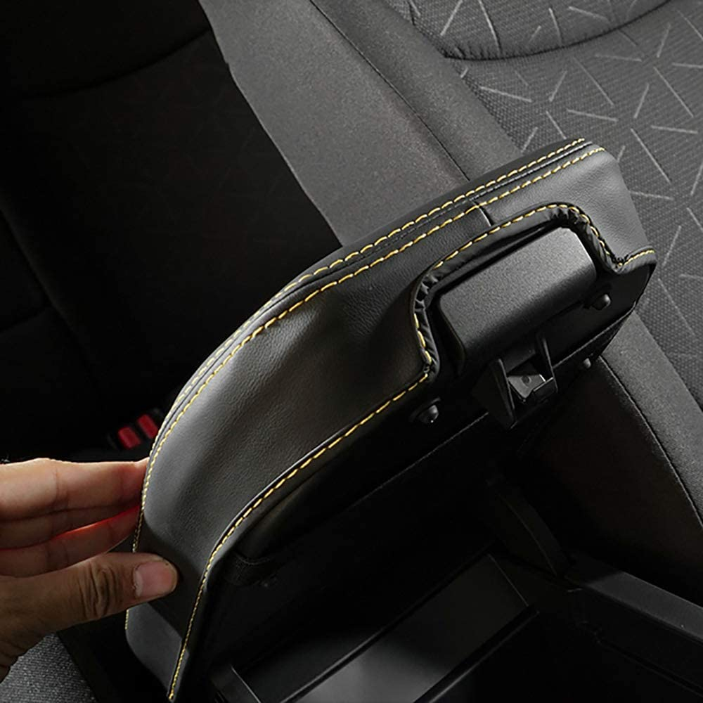 Bwen Car Armrest Box Cover,1 Piece Center Console Covers,Leather Protector Covers,for 2019 2020 Toyota RAV4,Black