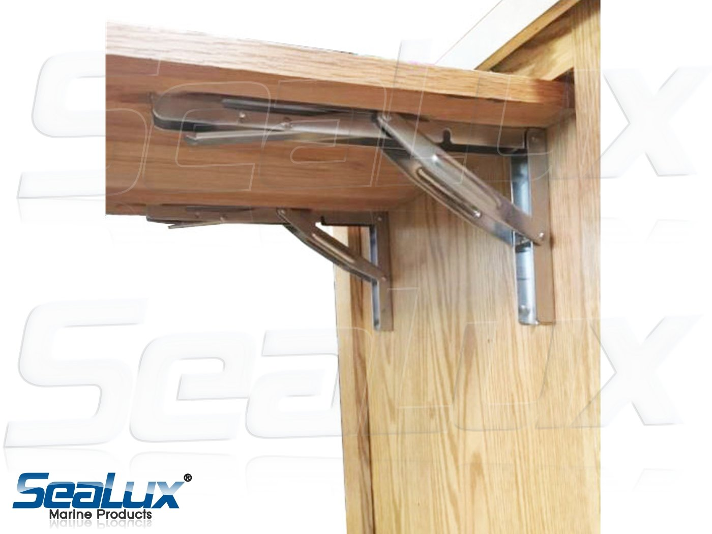 SeaLux Stainless Steel Folding Brackets 90 degree Shelf, Bench, Table Support 12'' Long with easy reach Long release Handle / Max. Bearing 330 lb (Sold as 2 pcs) by SeaLux Marine Products (Image #4)