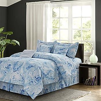 Amazon Com 7 Piece White Blue Marble Themed Comforter