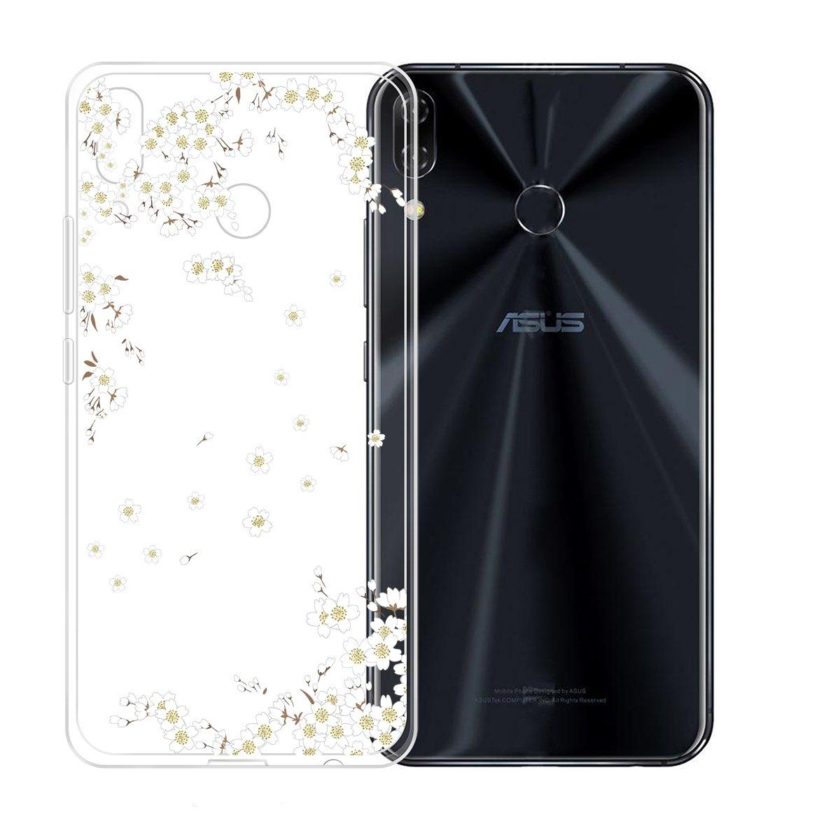 JIENI Funda Transparente TPU Suave Silicona Ramas Flor Parachoques Caso Carcasa Case Cover para ASUS Zenfone 5Z ZS620KL / Zenfone 5 ZE620KL (6.2