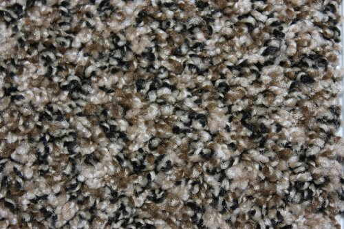 Cheap 12'x16′ Indoor Area Rug – Black and Tan 32oz – plush textured carpet for residential or commercial use with Premium BOUND Polyester Edges.
