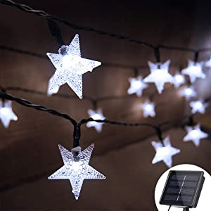Grezea Solar Twinkle Star String Light 50 LED 8 Modes Fairy Decorative Lights for Garden Patio Lawn Balcony Tree Outdoor Landscape Indoor Decoration for Playhouse Bedroom Bed Canopy Curtain, 21' White