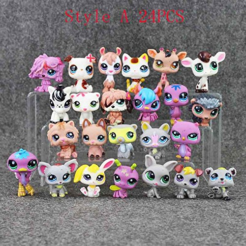 [24Pcs/Lot Anime Cute Animals Q Pet Shop Action Figure Collection Toys Scale Models Kids Toys Girl Dolls] (Randy Orton Costume)