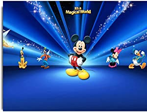 Histivich Canvas Pictures Wall Mural Donald Duck Goofy Mickey Mouse Background Posters Room Decor 28x20inch