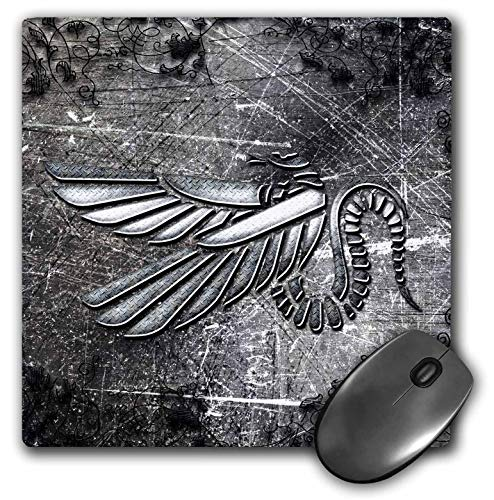 3dRose Heike Köhnen Design Fantasy - Wonderful Bird Tribal in Silver Colors - Mousepad (mp_252735_1)