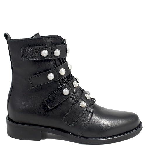 5795c4487d Stivaletti Ankle Boots con Perle Stivali Bassi Donna 0307 Personal Shoepper  in Vera Pelle Nero Made in Italy: Amazon.it: Scarpe e borse
