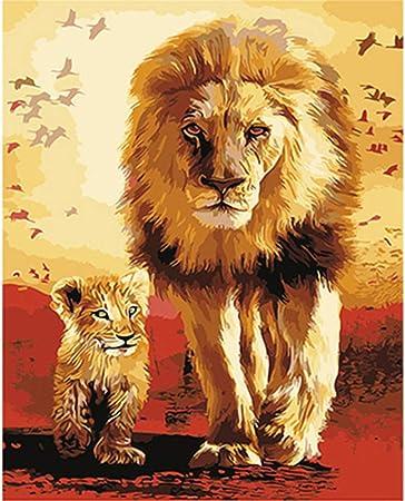 Sans cadre Lions famille animaux peinture à la main par numéros acrylique photo