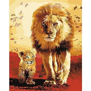 Yangll Löwen Familie Tiere DIY Malen Nach Zahlen Acryl Bild ...