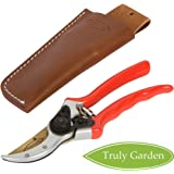 """Truly Garden Pruning Shears - 8"""" Premium Titanium Bypass Pruning Shears With Leather Case, Aluminum With Coated Handle For Easy Grip, Hand Pruners, Tree Trimmer, Garden Clippers, Flower Cutter"""