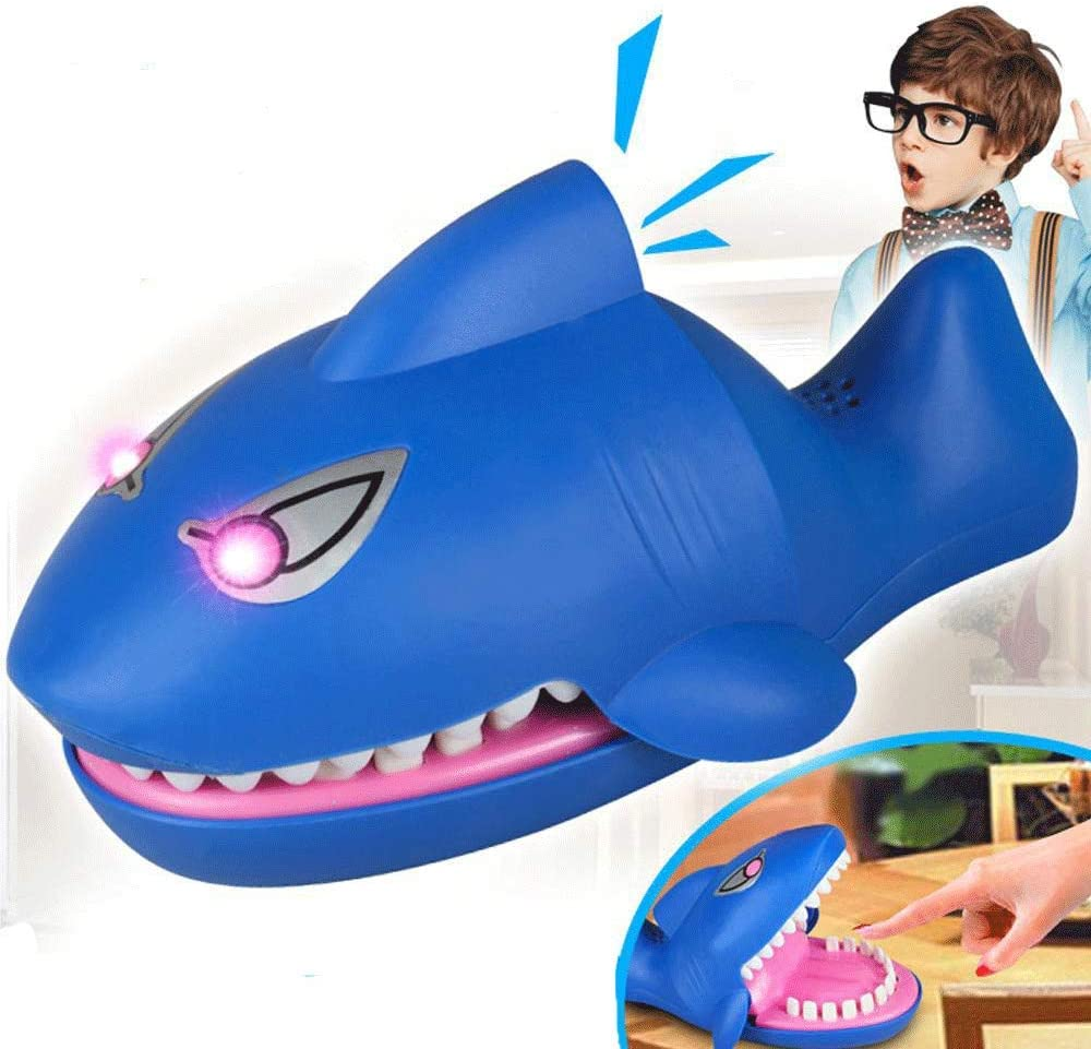 Children's Adventure Toys Shark Funny Toy Sound Snapping Family Challenge Game Kids Push Teeth Toy Plastic Shark Bite Finger Toy (Evil Laughter, Glowing Eyes, More Fun Than Crocodile)