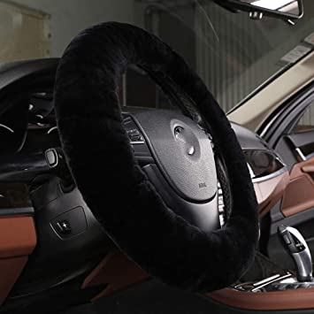 Pure Wool Auto Steering Wheel Cover Genuine Sheepskin Great Grip Anti-slip Car Steering Wheel Cushion Protector Universal 15 inch for Car,Truck,SUV,etc by Dotesy Pink