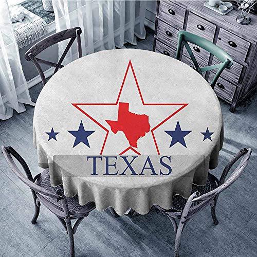 ScottDecor Overlays Round Tablecloth Outdoor Picnics Texas Star,San Antonio Dallas Houston Austin Map with Stars Pattern USA, Navy Blue Vermilion Pale Grey Diameter 70