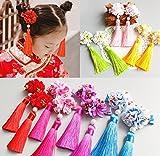 Children princess royal headdress hairpin hair ornaments Chinese style fur ball tassels female performers jewelry princess headdress flower festival for women girl lady