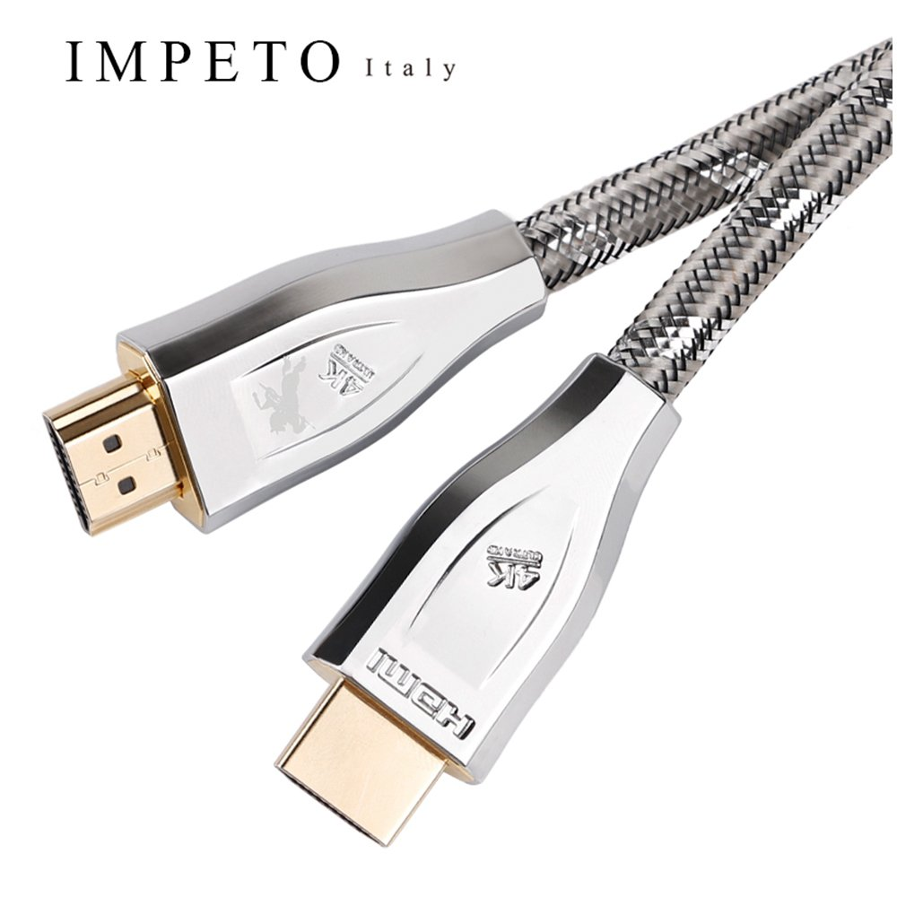 Impeto High-end Audiophiles Digital Audio Coaxial Cable HDMI (4K @ 60Hz) for TV, BOX, PSP laptop,Monitor, Home Theater - NIce Gift-Box Package, Designed in Italy, OD=8.3mm, L=5 Feet by Impeto