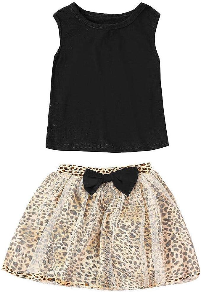 UOMOGO/® Vestito per bambini,Leopardo stampa abito corto senza maniche
