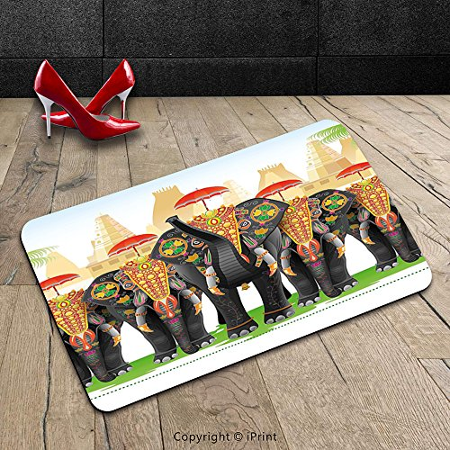 Custom Machine-washable Door Mat Ethnic Elephants in Traditional Costumes with Umbrellas Indian Ceremony Ritual Graphic Multicolor Indoor/Outdoor Doormat Mat Rug Carpet - Hey Mickey Costume