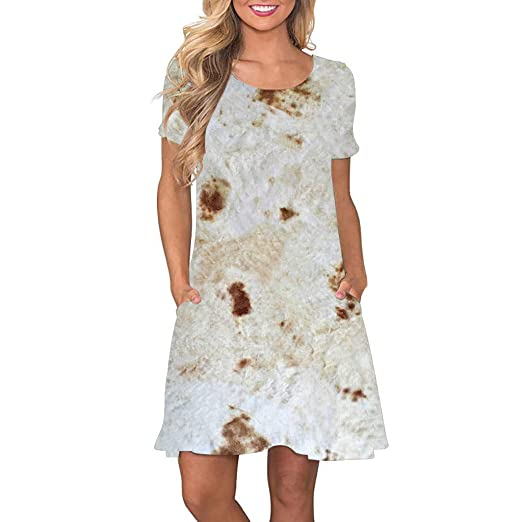 18a2c6d3147c VonVonCo Women's Mexican Pancake Printing Party Formal Swing Loose ...
